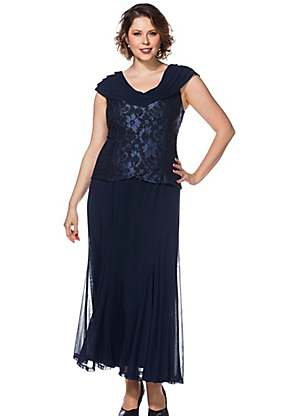 Embroidered Bodice Evening Dress