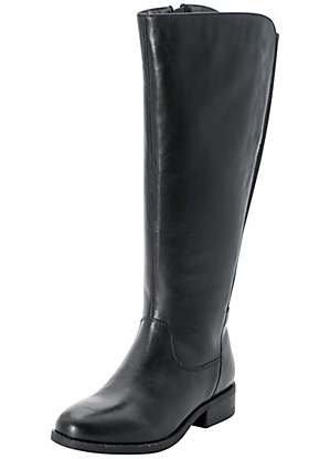 get new diverse styles complete in specifications Knee High Wide Leg Stretch Leather Boots