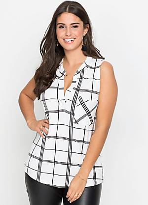 7d7201e99ca59 Checked Longline Blouse