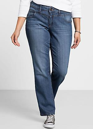 c7a5fd5a87659 Lana Used-Effect Straight Leg Stretch Jeans